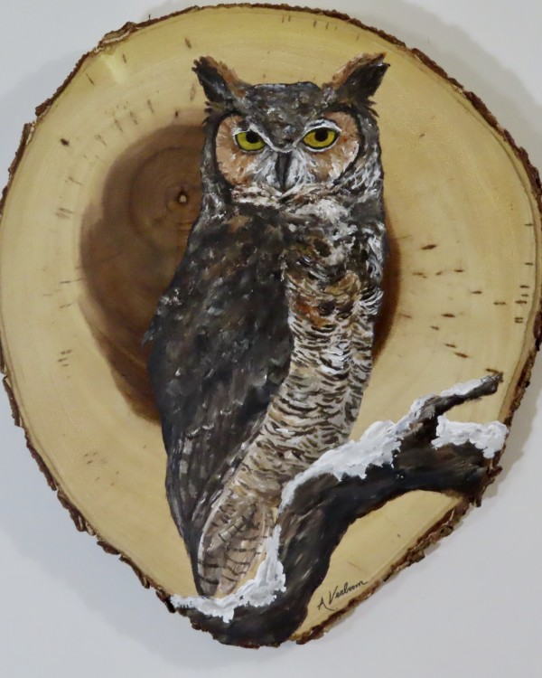 Great Horned Owl on Acacia Wood by Alexandra Verboom