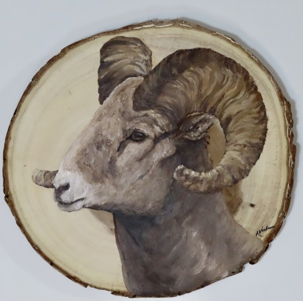 Big Horned Sheep on Acacia Wood by Alexandra Verboom