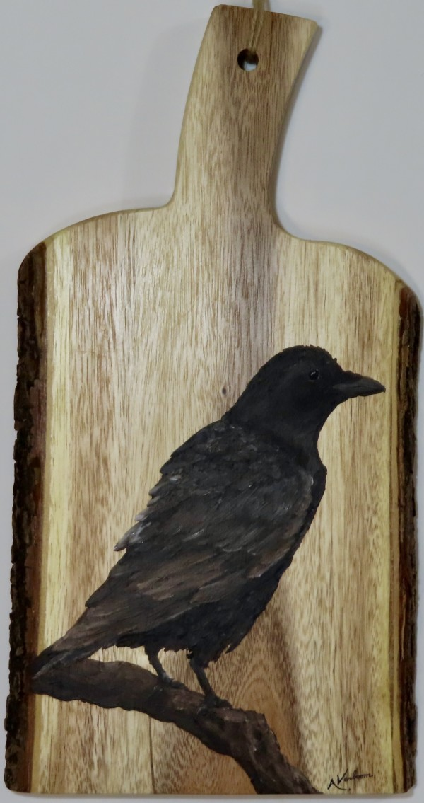 Raven on Acacia Wood by Alexandra Verboom
