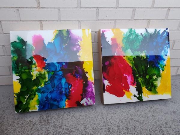 Abstract Shelf, Wall Art | Rainbow Splash I & II by Tana Hensley