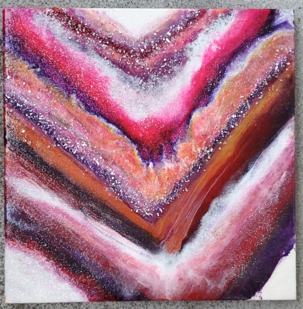 Red Rainbow Abstract Resin Art on Canvas by Tana Hensley