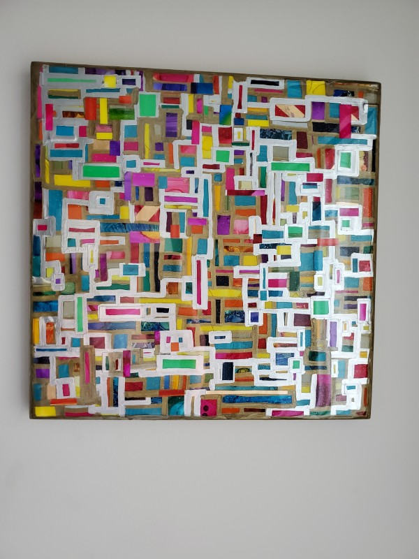 """Mosaic Collage w Gold Leaf Edges, Layers of Hand Cut Pieces on Gallery Cradled 14""""x14"""" Wood Panel w Layers of Resin by Tana Hensley"""