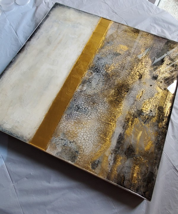 Abstract Collage Resin Art Shelf or Wall Art, Home Accessory, Decor, Gift, Office Decor, Cradled Profile Wood Panel, Original Artwork by Tana Hensley