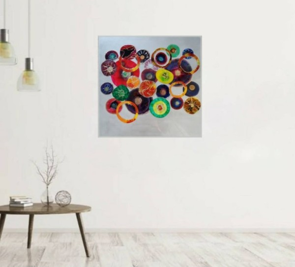 Abstract Resin Flower Collage Artwork on MDF Flat Panel by Tana Hensley