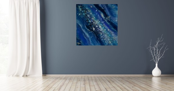 """Blue Galaxy Abstract Resin + Glass 24""""×24"""" on Canvas by Tana Hensley"""