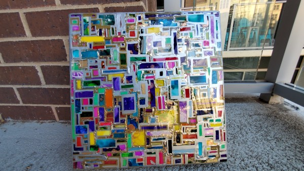 Abstract Resin Layered Mosaic Collage w Silver and Gold Mirror Leaf by Tana Hensley