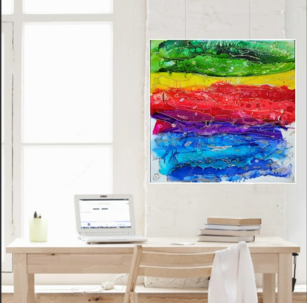 """Abstract Resin + Alcohol Ink + Glass Glitter Watercolor Style Rainbow Wall Art, 24""""×24"""" inch Gallery Cradled Wood by Tana Hensley"""