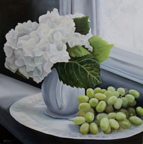 White Hydrangea with Green Grapes by Emma Knight