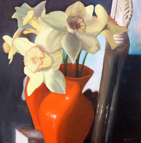 Narcissus in Orange Vase with Mirror by Emma Knight