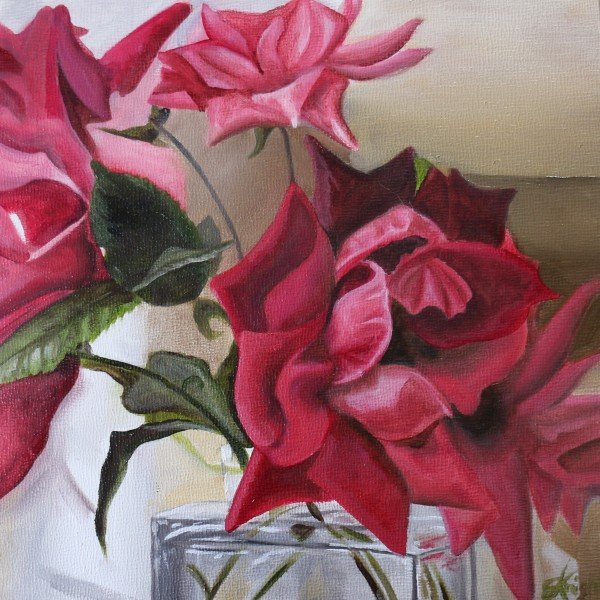 Roses in Glass Bottle II by Emma Knight