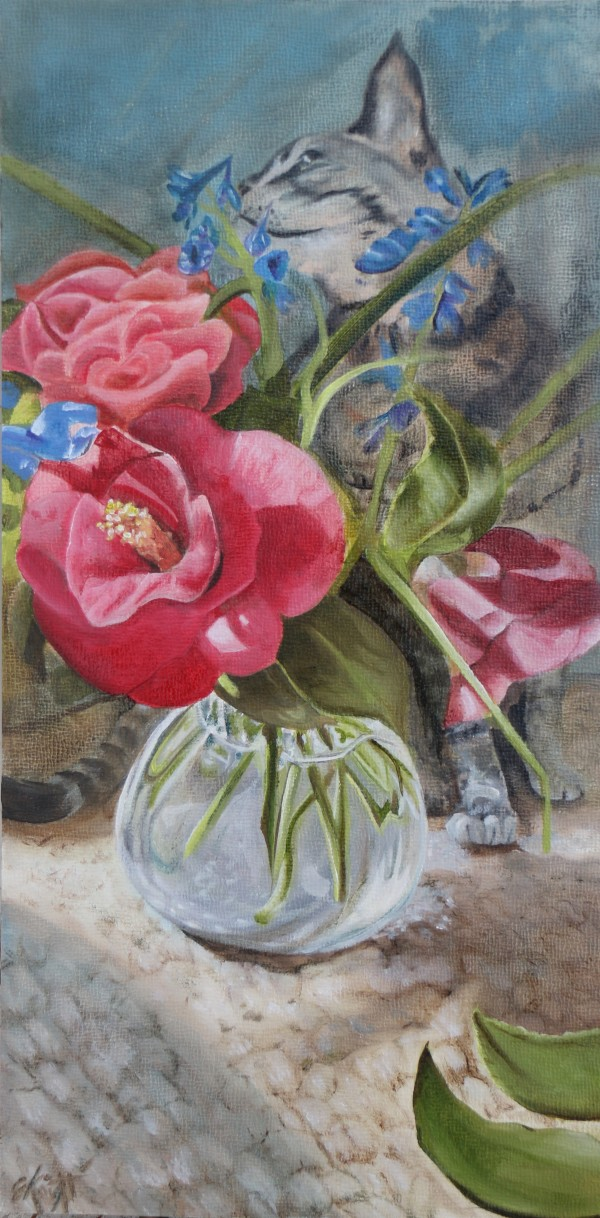 Cat, Camelias, and Delphiniums by Emma Knight