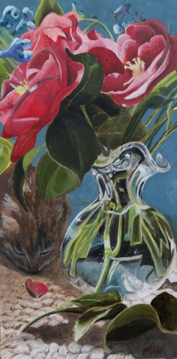 Cat and Camelias by Emma Knight