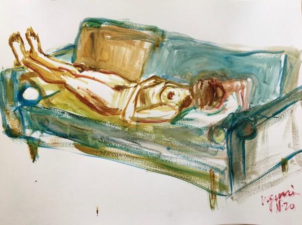 Lying Woman on Sofa