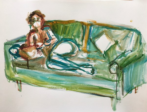 Reclining Woman on Sofa