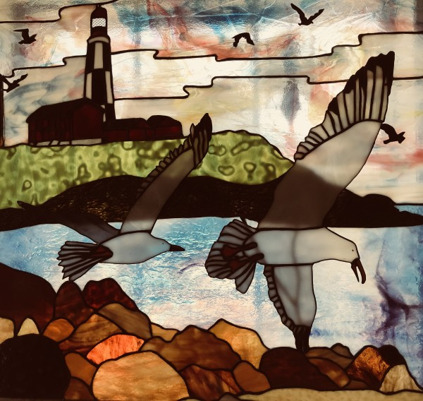 Seagulls with Lighthouse by Pat Conway
