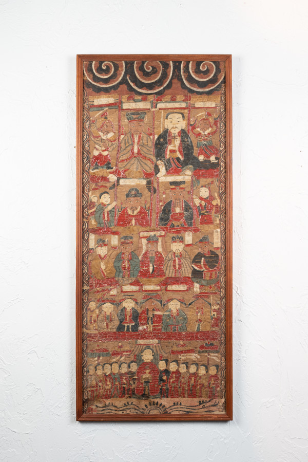 Antique Chinese Qing Taoist Temple Scroll Painting by Unknown