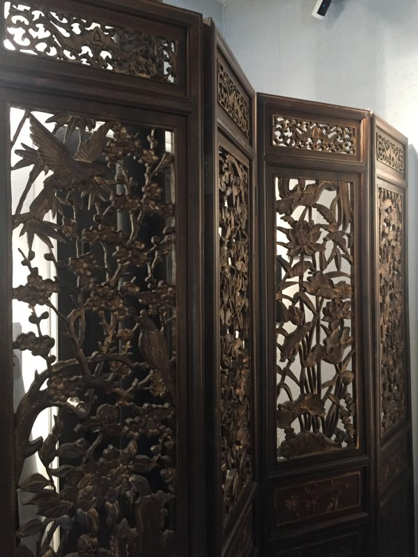 Antique Chinese Four Panel Pierced Wooden Screen by Unknown