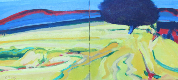 Shoreline with Blue Tree by George Bayliss