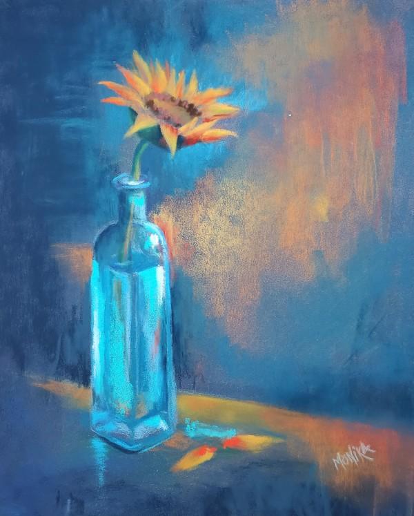 Blue Vase in Soft Pastels by Monika Gupta