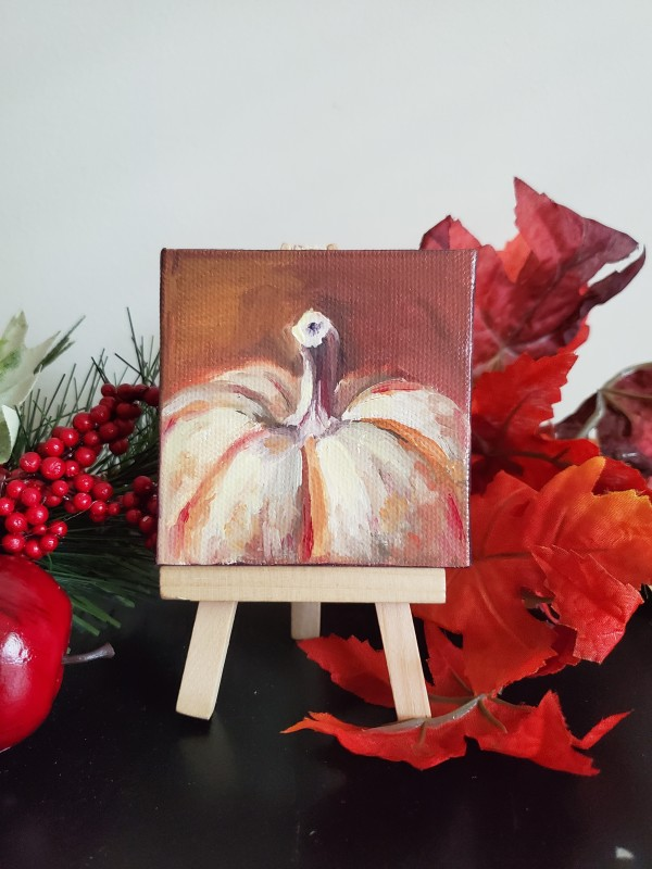 Mini Canvas with Easel - White Pumpkin by Monika Gupta
