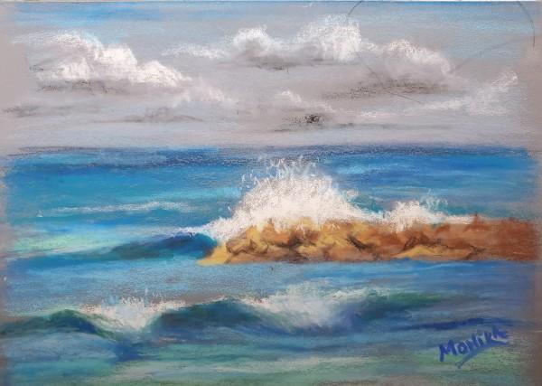 Plein Air - Crashing Waves by Monika Gupta