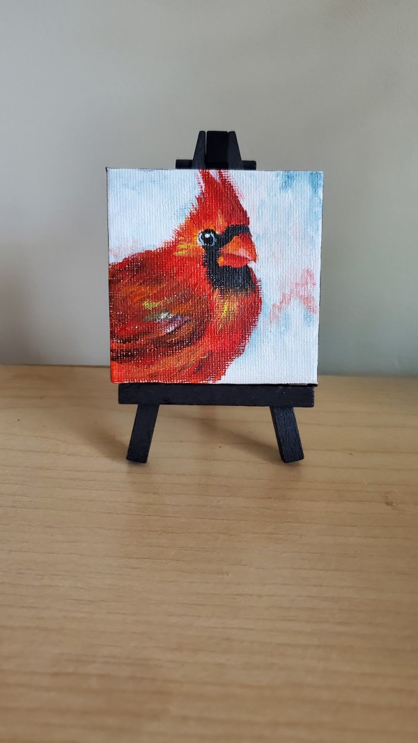 Mini Canvas with Easel - Red Cardinal II by Monika Gupta