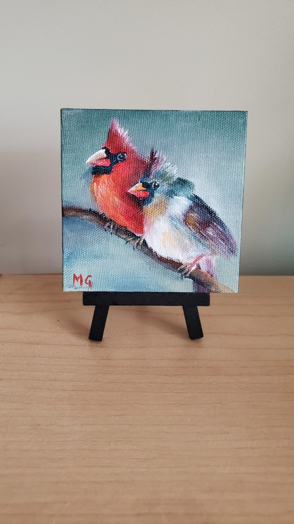 Mini Canvas - Pair of Cardinals by Monika Gupta