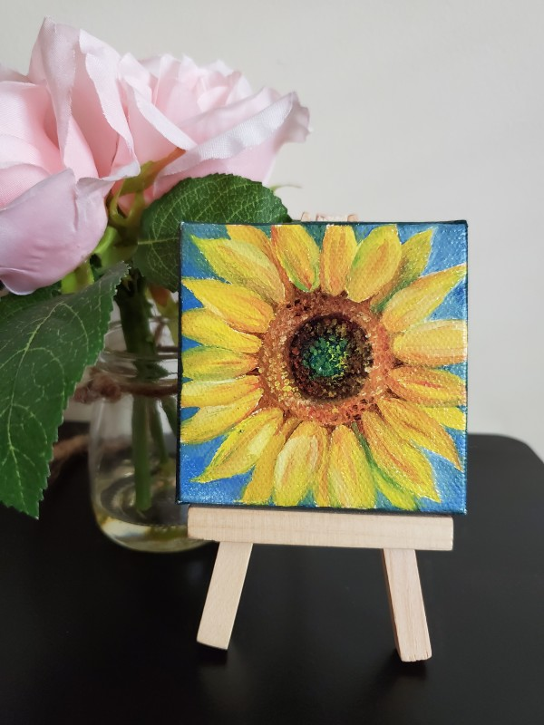 Mini Canvas with Easel - Sunflower by Monika Gupta