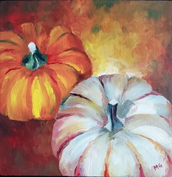 Jolly Molly Pumpkin Duo - Stretched Canvas by Monika Gupta