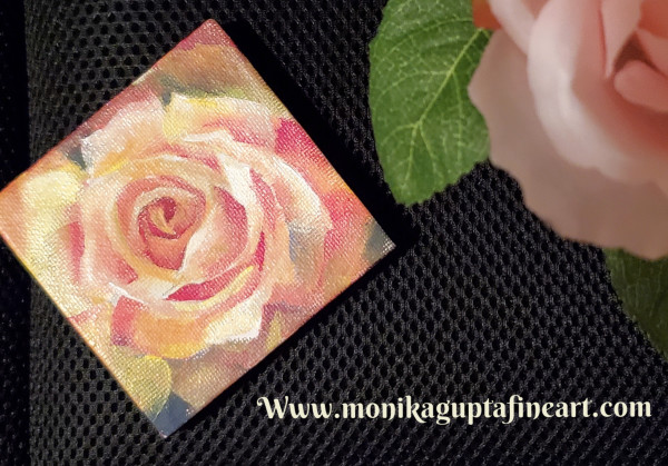 Mini Painting - Yellow Rose by Monika Gupta