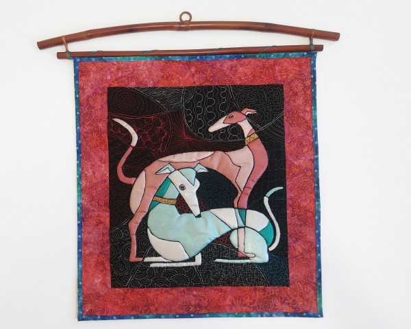 Standing Red and Reclining Blue Cubist Greyhounds by Laura Brady