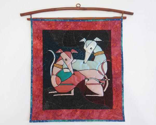 Reclining Cubist Greyhounds by Laura Brady
