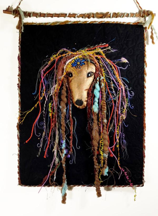 Rasta Greyhound (Front View) by Laura Brady