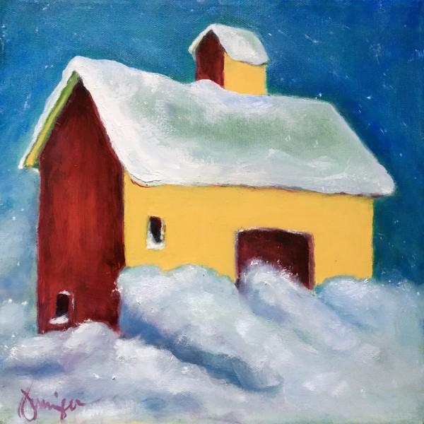 Snow Barn Still Standing by Jennifer Hooley