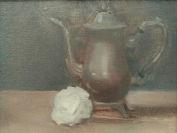 Still Life with Rose and Silver by Curtis Green