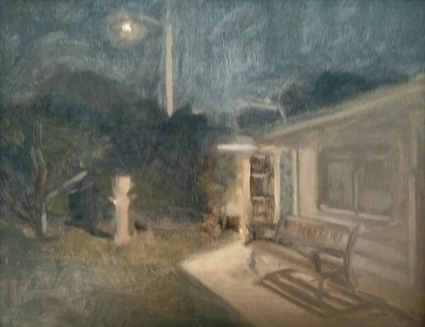 The Shed at Night with Urn by Curtis Green