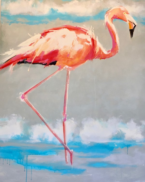 Beach Flamingo I by kathleen broaderick