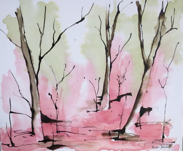 Forest - pink and green by Kirsten Johnston