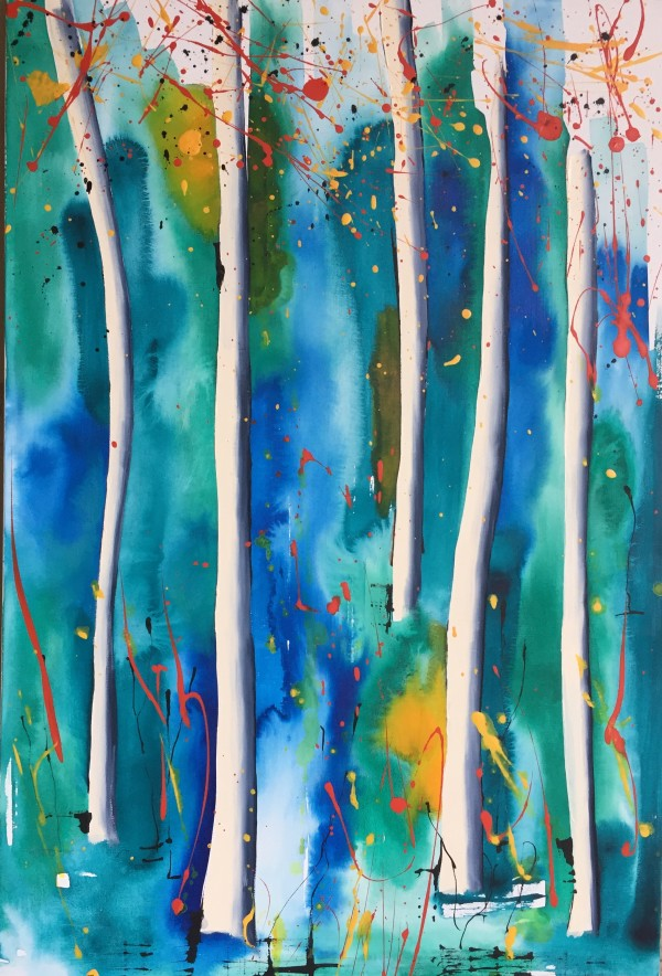 White trees with blue and green by Kirsten Johnston