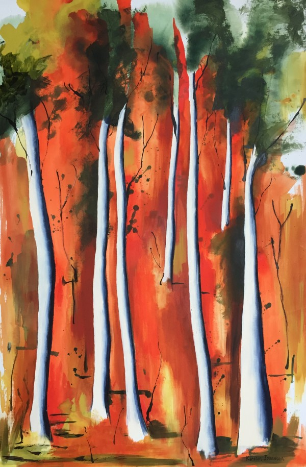 Tall trees with orange by Kirsten Johnston