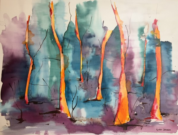 Forest - golden trees in spring by Kirsten Johnston