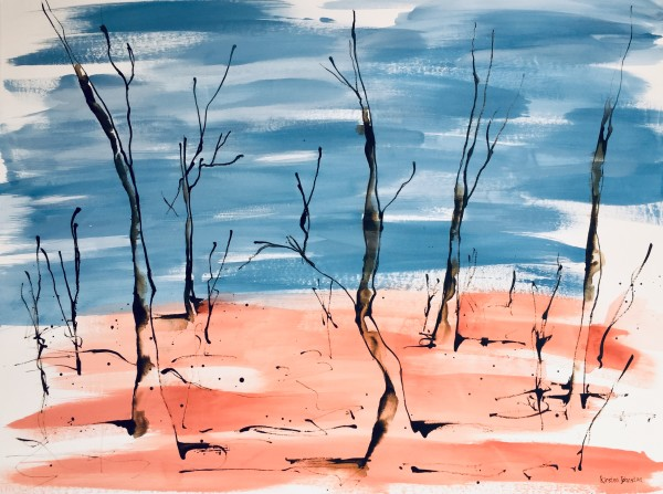 Ghost trees with red and blue by Kirsten Johnston