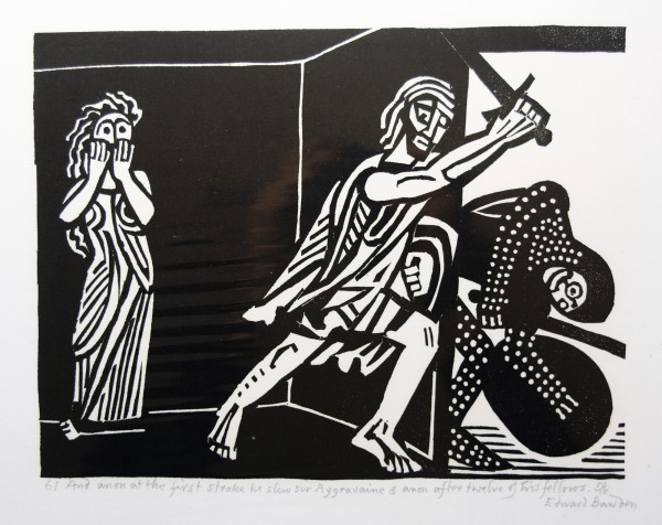 61 And anon at the first stroke he slew sir Aggravaine & anon after twelves of his fellows by Edward Bawden