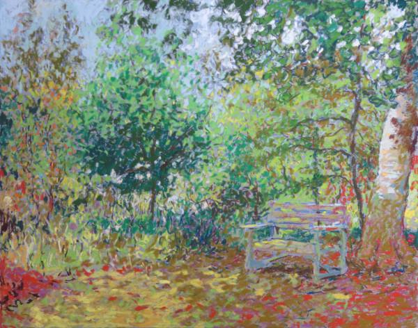 LS66: Old Garden seat beneath Beech Tree - 15th September 2020 by Simon Blackwood