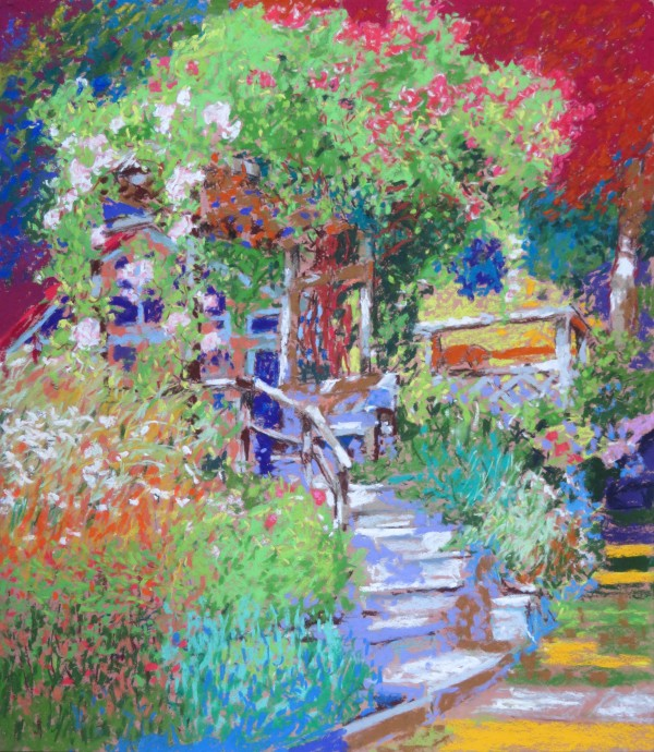 LS50: Pergola with herb garden, stormy light - 5th July 2020 by Simon Blackwood