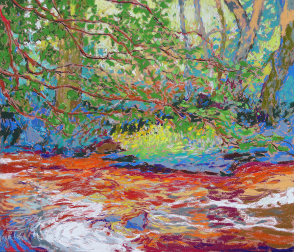 LS52: Rule Water in spate with Doronicum daisies and Maples - 7th July 2020 by Simon Blackwood