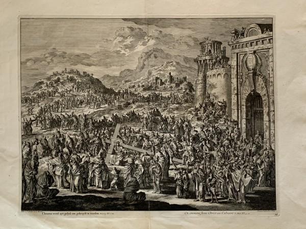 Christus werd uyt gelyd om gekruyst te worden. Marcus XIV. v.20 (On emmene Jesus Christ au Calvaire) by Jan Luyken