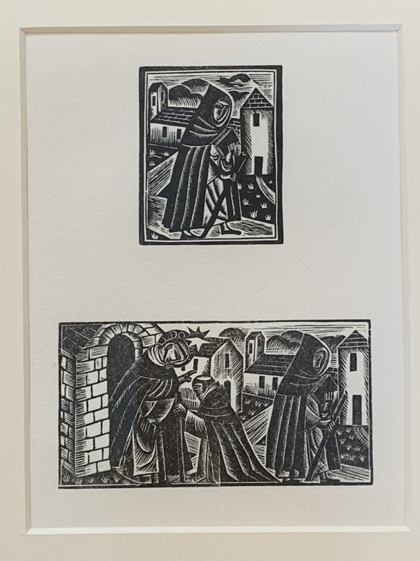Dominican friar and St. Dominic blessing friar and friar on pilgrimage by David Jones