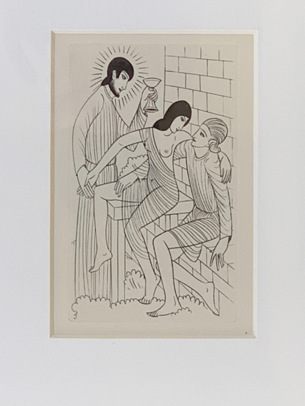 Adam and Eve in Heaven of The Public-House in Paradise by Eric Gill