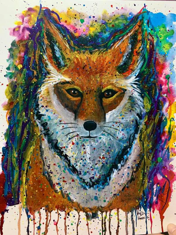 """MULTICOLOR FOX"" by ALASKAN WATERCOLORS BY KAREN"